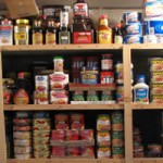 shelves with food on