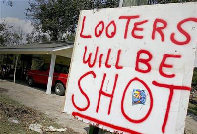 looters will be shot placard