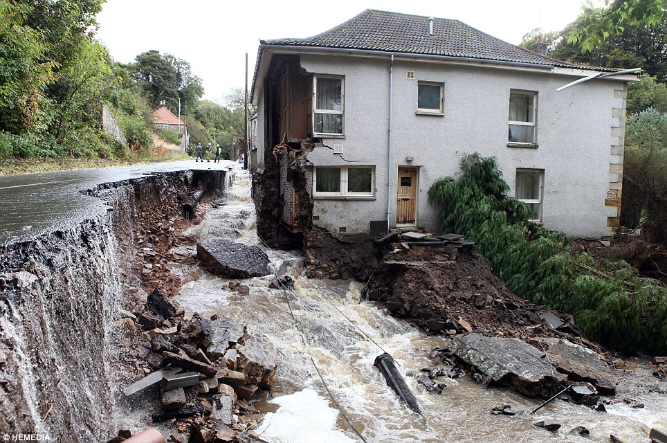 house with flood water