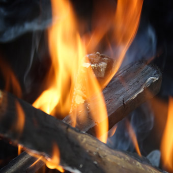 survival fire made with a fire starter