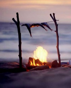 survival skills cooking fish in the wild