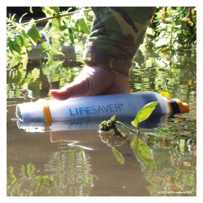 lifesaver water filter bottle in stream