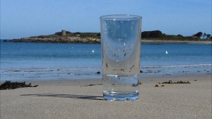 glass of sea water