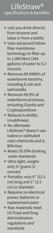 lifestraw water filter specifications