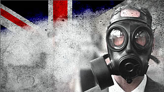 prepper in gasmask with union jack behind