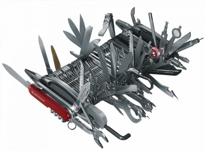 swiss army knife all blades open