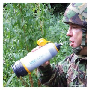 soldier with lifesaver drinking filter