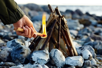 fire using a fatwood stick